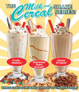 The june shake of the month the milk and cereal trio cereal is a fun way to start the day but well swirl it up in a shake and make your day extra sweet ccuart Choice Image